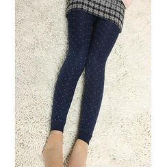 Ando Store - Twill Dotted Fleece-Lined Leggings