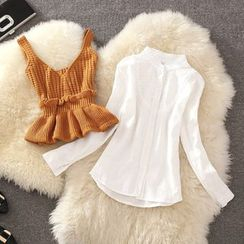 Clementine - Set : Bustier Knit Top + Long-Sleeve Blouse