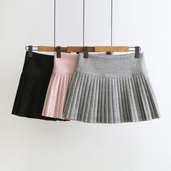 Vateddy - Pleated Knit Skirt