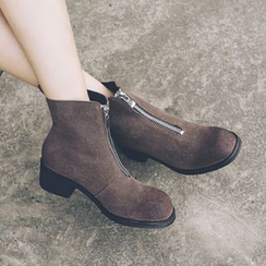 JY Shoes - Chunky Heel Zip Front Ankle Boots