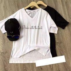 AIGIL - Short-Sleeve Lettering T-Shirt