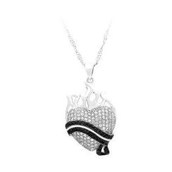 BELEC - 925 Sterling Silver Heart-shaped Pendant with White and Black Cubic Zircon and Necklace
