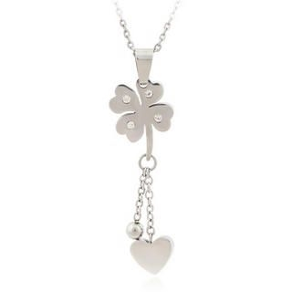 Menku - Rhinestone Clover Drop Necklace