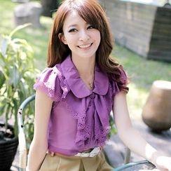 Tokyo Fashion - Perforated Ruffle Chiffon Blouse