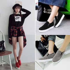 Shoes Galore - Faux Suede Platform Slip-Ons