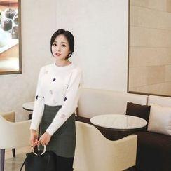mimi&didi - Heart-Appliqué Patterned Wool Blend Knit Top