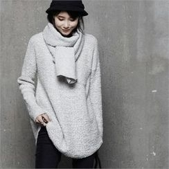 HALUMAYBE - Set: Drop-Shoulder Boucle Knit Top + Scarf
