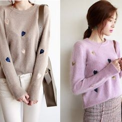 NIPONJJUYA - Heart Pattern Wool Blend Furry-Knit Top