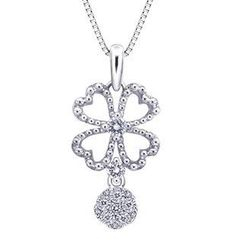 MaBelle - 18K/750 White Gold Clover Diamond Pendant (0.17 cttw) (FREE 925 Silver Box Chain)