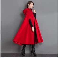 Ebbie - Plain Hooded Long Woolen Cape