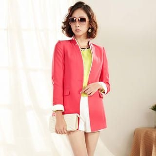 Moonbasa - Collarless Cuffed Blazer