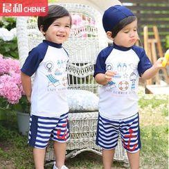 Morning Dew - Kids Set: Print Swim Shirt + Swim Trunks + Swim Cap