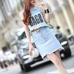 ZAPPA - 套裝: 印字散邊無袖牛仔上衣 + 短裙