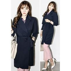 INSTYLEFIT - Notched-Lapel Trench Coat with Sash