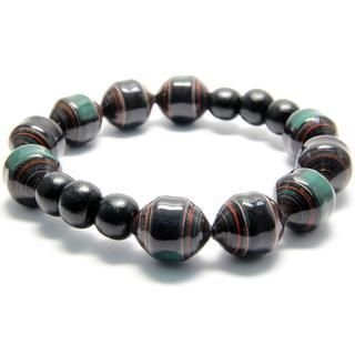 Papellery - Drum Shaped Paper Beads Bracelet with Circular Wooden Beads