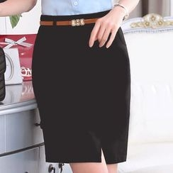 illusione - Slit-Front Pencil Skirt