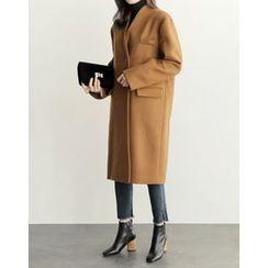 UPTOWNHOLIC - Collarless Wool Blend Coat
