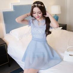 Effie - Short-Sleeve Paneled A-Line Dress