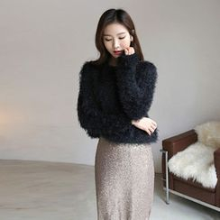 Hello sweety - Round-Neck Furry-Knit Sweater
