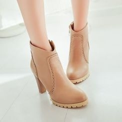 Pangmama - Faux-Leather High-Heel Ankle Boots