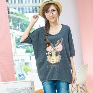 YoungBaby - Rabbit-Print Drop-Shoulder T-Shirt