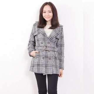 D.P-Shop - Double-Breasted Plaid Wool Jacket