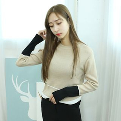 Dodostyle - Contrast-Trim Round-Neck Knit Top