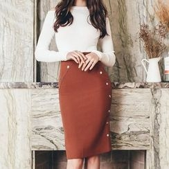 Aurora - Set: Knit Top + Button Skirt