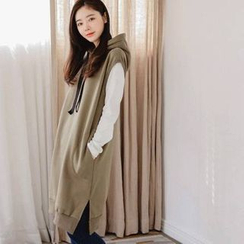 JUSTONE - Hooded Sleeveless Brushed-Fleece Lined Dress