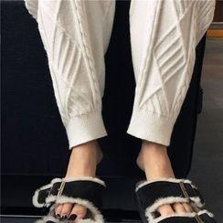 DOUX - 抽繩針織長褲