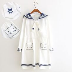 Vateddy - Cat Embroidered Sailor Collar Short-Sleeve Dress