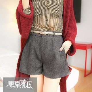 Tokyo Fashion - Elastic-Waist Shorts with Belt