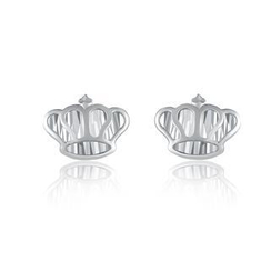 MaBelle - 14K/585 White Gold Diamond Cut Crown Earrings