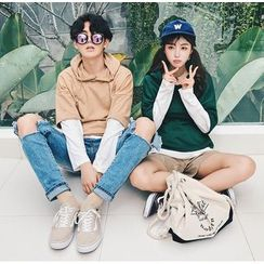 Bestrooy - Couple Matching Mock Two Piece Hoodie