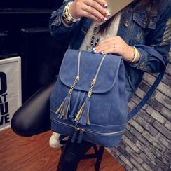 Seok - Faux Suede Tassel Drawstring Backpack