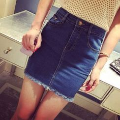 Bloombloom - High-Waist Denim Skirt