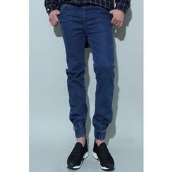 Ohkkage - Band-Waist Washed Jeans