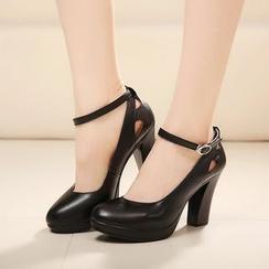 Hannah - 真皮及踝靴粗跟鞋