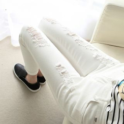 KAKAGA - 做舊窄身牛仔褲