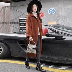 Donnae - Plain Long Woolen Coat