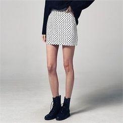 JVLLY - Zip-Back Polka Dot Skirt