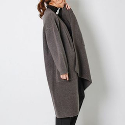 FASHION DIVA - Open-Front Wool Blend Long Cardigan