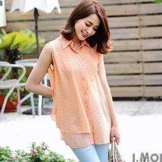 OrangeBear - Sleeveless Dotted Layered Chiffon Blouse