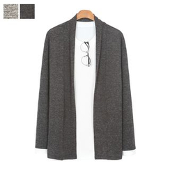DANGOON - Contrast-Trim Open-Front Mélange Cardigan