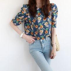 NIPONJJUYA - Puff-Sleeve Linen Blend Floral Top