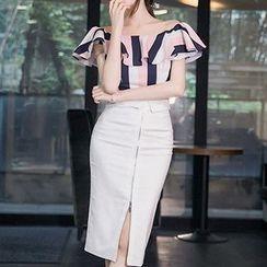 Aurora - Set: Off-Shoulder Ruffled Striped Top + Pencil Skirt