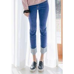 REDOPIN - Cuff-Hem Straight-Cut Jeans