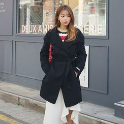 DABAGIRL - Wide-Lapel Wool Blend Coat with Sash
