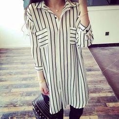 Rocho - Pinstripe Chiffon Shirtdress