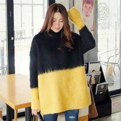 REDOPIN - Wool Blend Turtleneck Color-Block Sweater